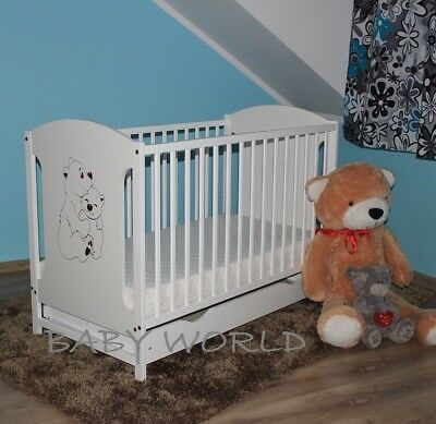 Miki 2 Bears White Baby Cot With Drawer + Optional Mattress And Barrier