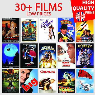 CLASSIC 80s MOVIE POSTERS Photo Poster Film Wall Decor Fan Art A5/A4/A3