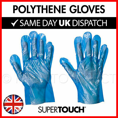 Disposable Polythene PE Gloves - Plastic Food Safe - Blue PREMIUM - Boxes of 100