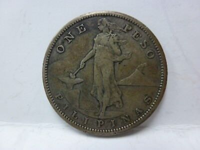 1909-S Philippines One Peso Filipinas Large Silver Coin #3