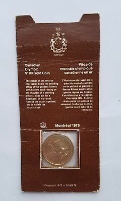 1976 Canada $100 Gold 14K Olympic Coin in Original Canadian Mint Packaging