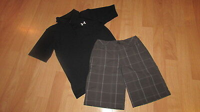 Boys Under Armour Outfit Small Black Polo Plaid Shorts Nwot !!