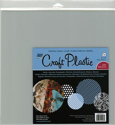 "Grafix K20CP124 Craft Plastic Sheets 12""X12"" 4/Pkg-Clear .020"