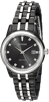 Citizen Eco-Drive Women's EW2398-58E Diamond Hour Markers Black 28mm Watch