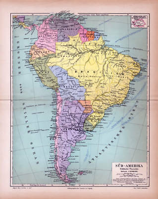 SOUTH AMERICA POLITICAL MAP BRAZIL CHILE ARGENTINA PERU ECUADOR Lithograph 1885