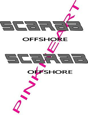 """2 SCARAB RACING decals vinyl sticker 2-12/'/' x 3/"""" scarab boat boats decal USA"""