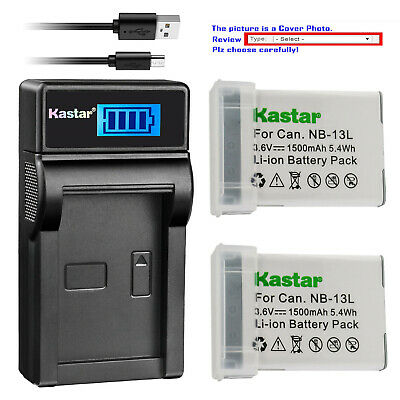 Kastar Battery LCD Charger for  Canon NB-13L CB-2LH Canon PowerShot G7 X Mark II