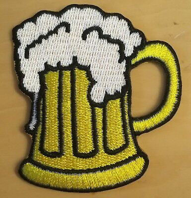 Bier Aufbügler ★ Aufnäher ★ beer iron-on patch ★ Bierkrug Biker Fun Rock n Roll