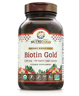 NutriGold Biotin Gold for Healthy Hair Skin and Nails (120 veggie capsules)