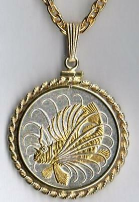 J&J Detailed Singapore 50 Cents Gold &Silver Lion Fish Rope Bezel/ Chain/USAMade