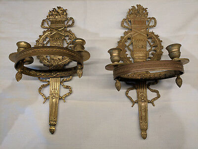 Pair of French Empire Style Bronze Wall Mounted Sconces