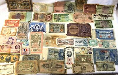 One Unique Lot Of 40 Large Rare Old European And Asian Notes Many 100 + Yo