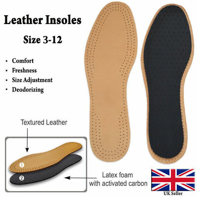 Leather Shoe Insoles Unisex Active Carbon Genuine Inner Sole Boots Sizes 3-12