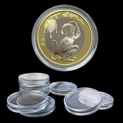 10pcs 35mm Applied Clear Plastic Round Cases Coin Storage Capsules Holder JF EB