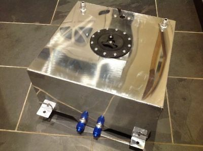 40 Litre Fuel Cell/tank With Level Sender Unit, Polished Aluminium, AN fittings