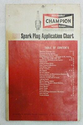 Vintage 1968 Champion Spark Plugs Application Chart
