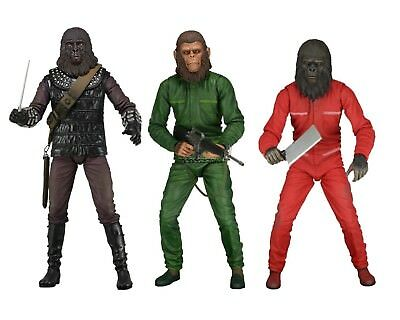 "Planet of the Apes 7"" Scale Figure Set - Aldo, Caesar & Conquest Gorilla - NECA"