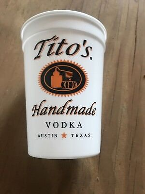 5 sleeves of re useable plastic Tito's vodka cups (125 cups)