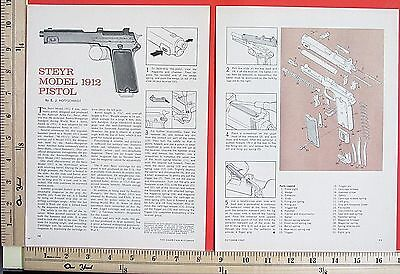 1967 STEYR MODEL 1912 PISTOL 9mm Automatic EXPLODED VIEWS Magazine Article 5653