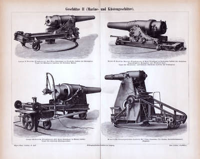 OLD MARINE ARTILLERY GUNS Ring CANNONS Carriage Moncrieff Engraving Print 1887