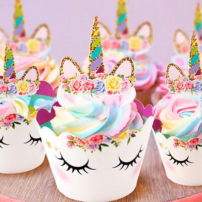 Rainbow Unicorn Cupcake Topper Cake Wrappers Boy Girl Baby Shower Kids Birthday