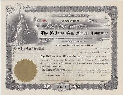 Fellows Gear Shaper Co. Stock Cert., Springfield, Vermont,1900s - FINAL MARKDOWN