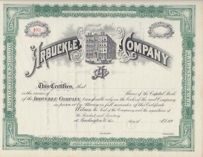 Arbuckle Co. Confectioners, Stock Cert. Burlington, Vermont,1890s FINAL MARKDOWN