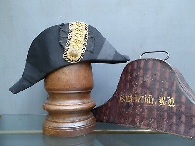Antique Vintage Naval Bicorn Hat & Case By Ede & Ravenscroft