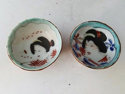 """Antique Vtg Porcelain 2 Sake Cups wraped bamboo wicker Hand Painted Geisha 2.5"""""""