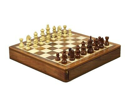 Chess Set Solid Sheesham Wood Box With Drawer Game Board Set With Pieces 14""