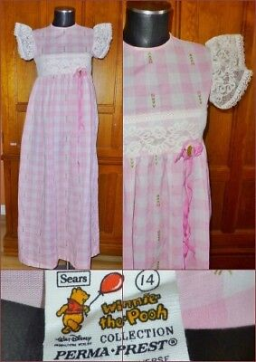 Vtg 1970s 70s WINNIE the POOH Sears Girls Easter Garden Party Long DRESS sz 14
