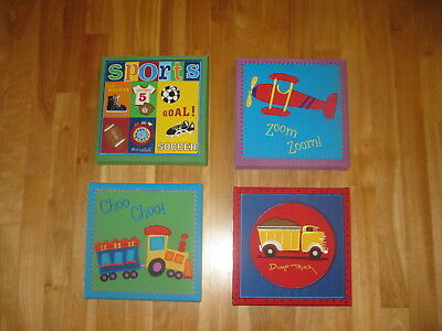Kids Room Decor Art Fabric Wall Picture set of 4