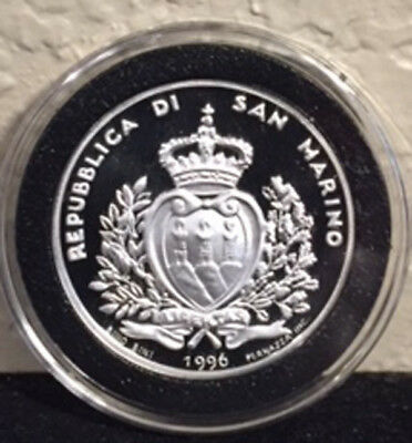 1996 San Marino 5000 Lire Hawk and Dove on Olive Branch Proof 83.5% Silver in Ai