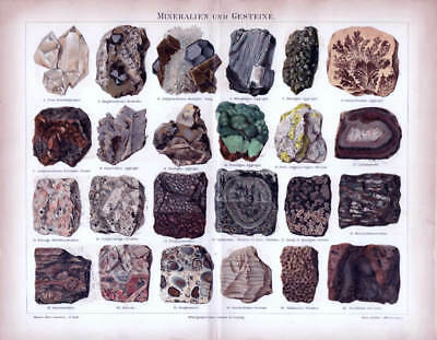 MINERALS ROCKS STONES CRYSTAL historical antique Lithograph print 1888