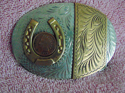 Vintage Belt Buckle-Horseshoe-Indian Head Penny-Cowboy Collectable-Nice!