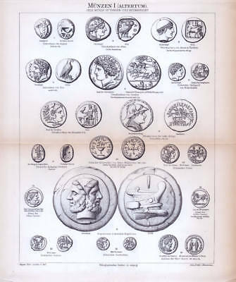 Coins antiquity medieval historical money old historical Engraving Print 1888
