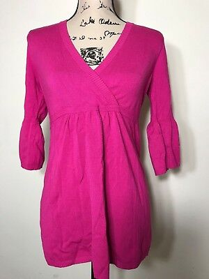 Ann Taylor Loft Maternity Sweater Women's Top Size Small Tunic Blouse V-Neck 3/4