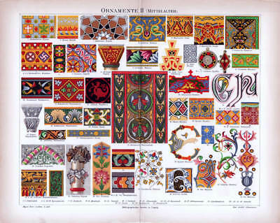 ORNAMENTS MEDIEVAL ARAB PERSIA IRELAND ITALY antique Lithograph Print 1888