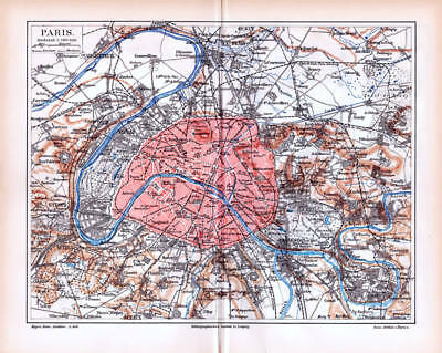 FRANCE PARIS CITY and OUTSKIRTS antique historical Lithograph Map Print 1885