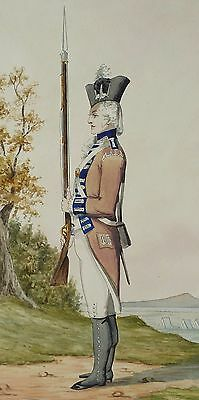 Original British 19Th Century Watercolour Of Soldier - 1St Royal Regiment 1792