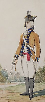 Original British 19Th Century Watercolour Of Officer - 1St Royal Regiment 1792