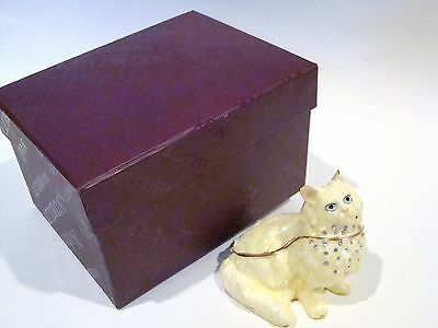 Jeweled Trinket Hinged Box - White Cat with jewels