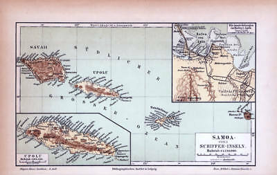Samoa Schiffer Islands German Reich Colonies historic map Lithograph 1889 dated
