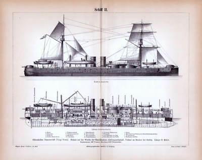 China Armoured Ship Ironclad Ting Yuen Volcano Steam Swift Navy Engraving 1889