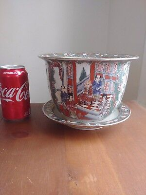 Fine 20C CHINESE EXPRESS DOWAGER CIXI FAMILLE ROSE IMPERIAL PLANTER VASE & PLATE