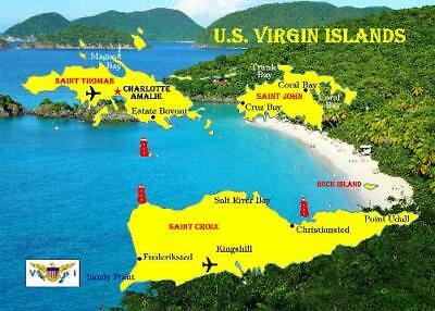 United States Virgin Islands Map New Postcard
