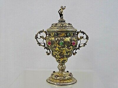 ANTIQUE GEM SET SILVER COVERED CUP diamonds emeralds rubies AUSTRIAN sterling