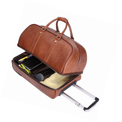 4217106c97 Leathario Leather Luggage travel duffle bag weekend overnight bag rolling  suitca