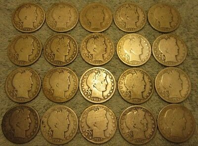 Roll of 20 different Barber Halves including a semi-key 1913
