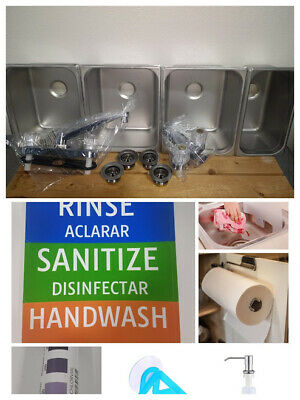 Large 3 Compartment Sink Set, FREE GIFTS!!!, & Hand Wash. For Concession Stands